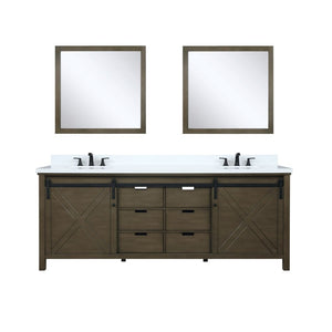 "Lexora Marsyas 84"" Rustic Brown Double Vanity, White Quartz Top, White Square Sinks and 34"" Mirrors"