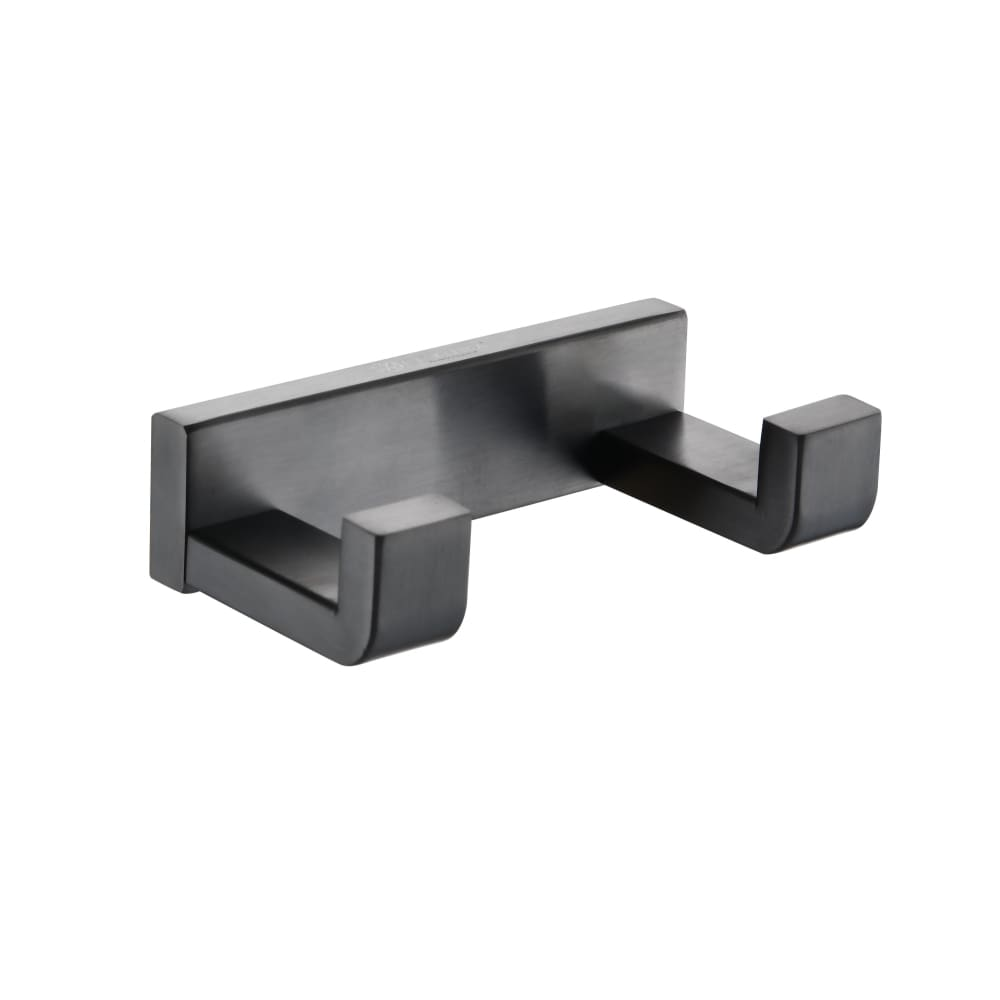 Lexora Bagno Bianca Stainless Steel Double Robe Hook - Gun Metal LRH18152GM