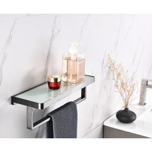 Lexora Bagno Bianca Stainless Steel White Glass Shelf w/ Towel Bar - Gun Metal LST18152GM-WG