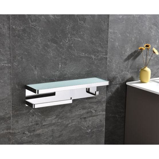 Lexora Bagno Bianca Stainless Steel White Glass Shelf w/ Towel Bar & Robe Hook - Chrome LSTR18152PC-WG