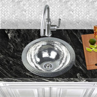 Nantucket Sinks ROS 13 Inch Hand Hammered Stailess Steel Round Bar Sink