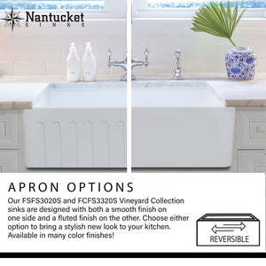 Farmhouse Sink Nantucket Sinks FCFS3020S-ACCIAIO 30 Fireclay