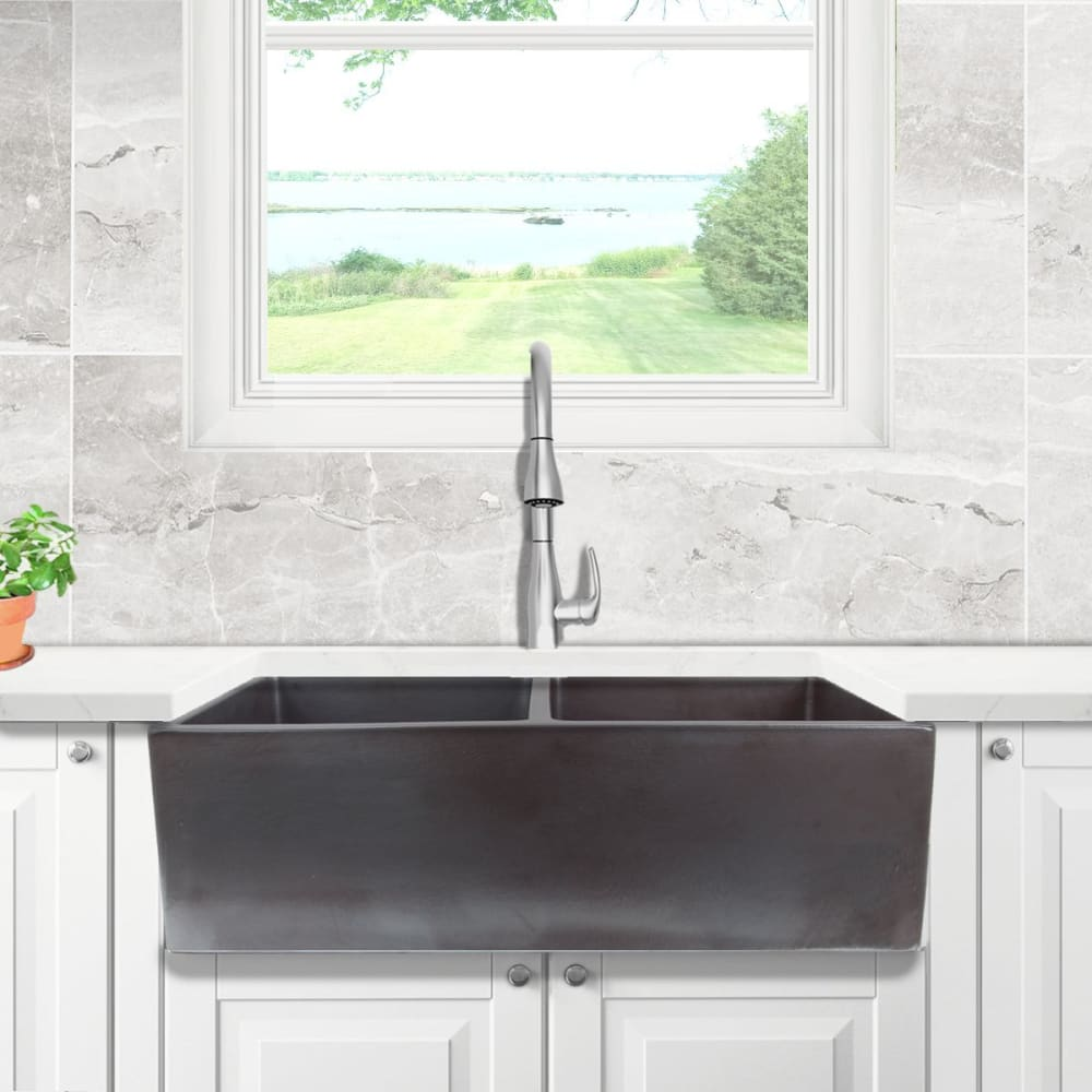 Farmhouse Sink Nantucket Sinks FCFS3318D-ACCIAIO 33 Fireclay