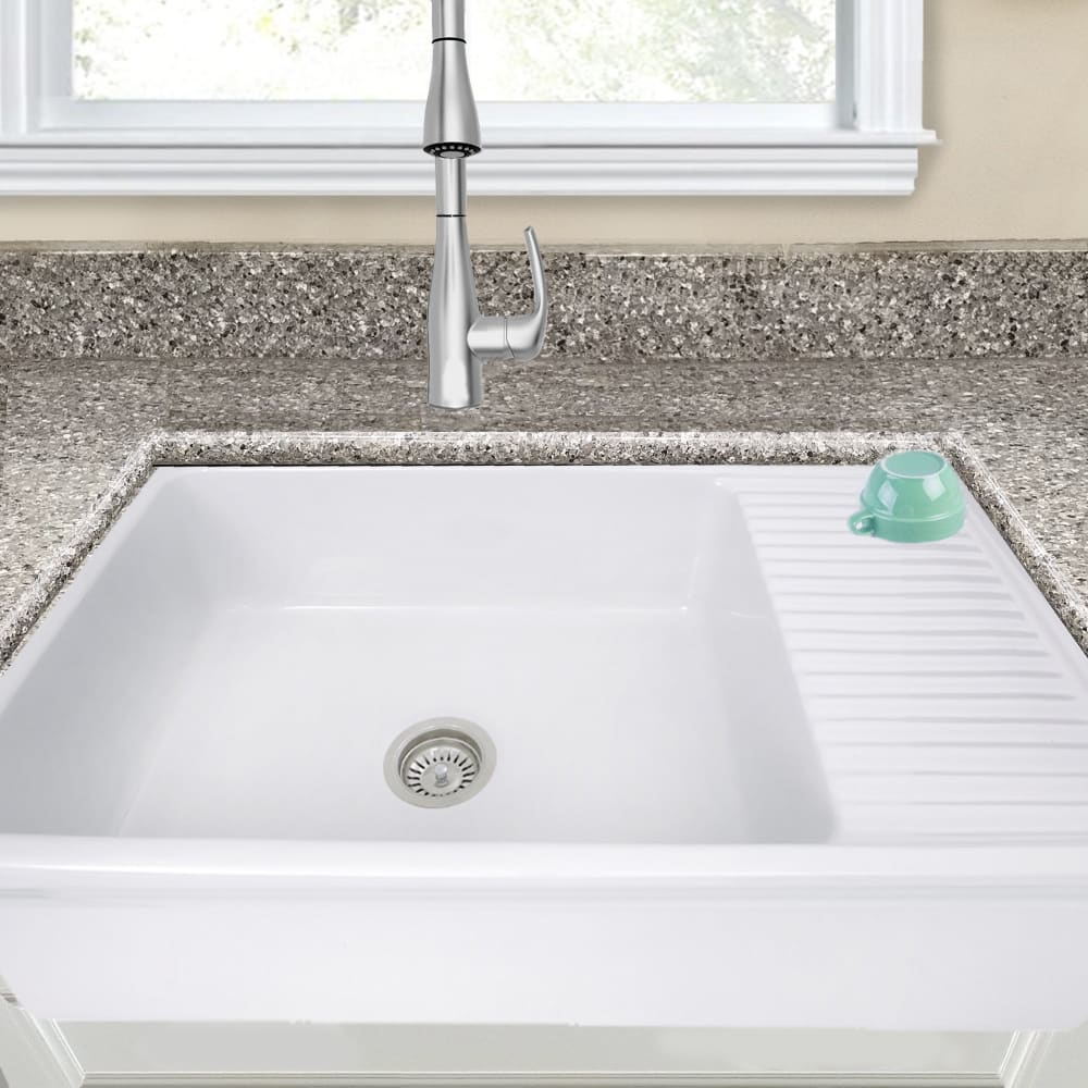 Nantucket Sinks 36 Fireclay Italian Farmhouse Sink With Built In Drainboard Silver Fcfs36 Db Farm Sink Shop 1 Online Store For Sinks Faucets