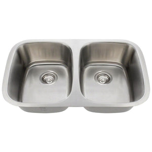 Kitchen Sink Polaris P015-16 Double Bowl Stainless Steel