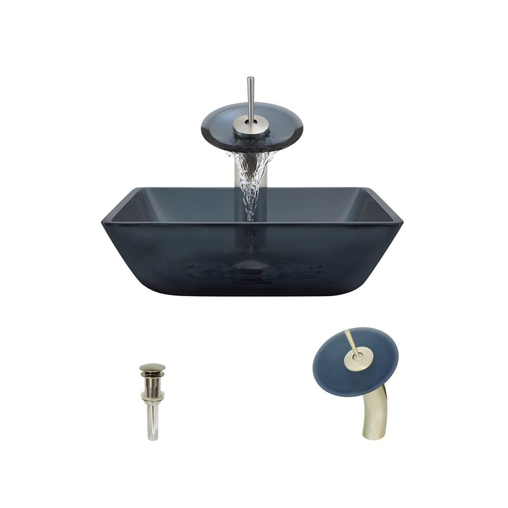 Bathroom Sink Polaris P036-BN Waterfall Faucet Ensemble