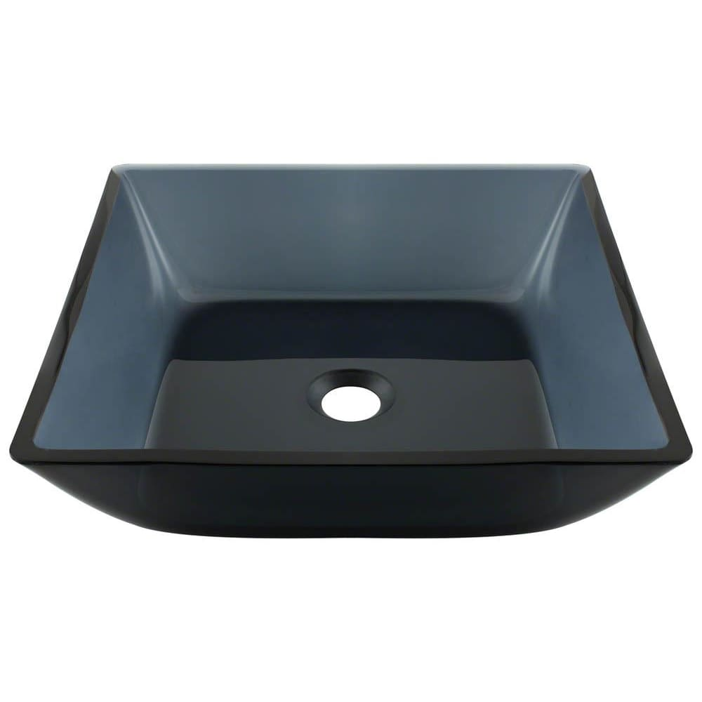 Bathroom Sink Polaris P036 Square Black Glass Vessel Fully