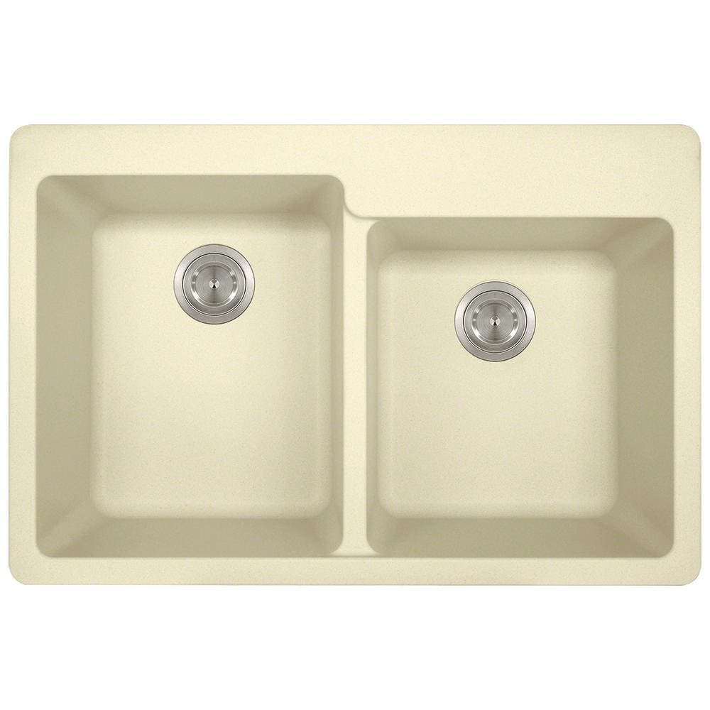 Kitchen Sink Polaris P108TBE Double Offset Bowl Topmount