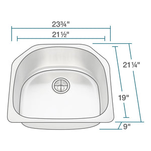 Kitchen Sink Polaris P1242-18 D-Bowl Stainless Steel Brushed