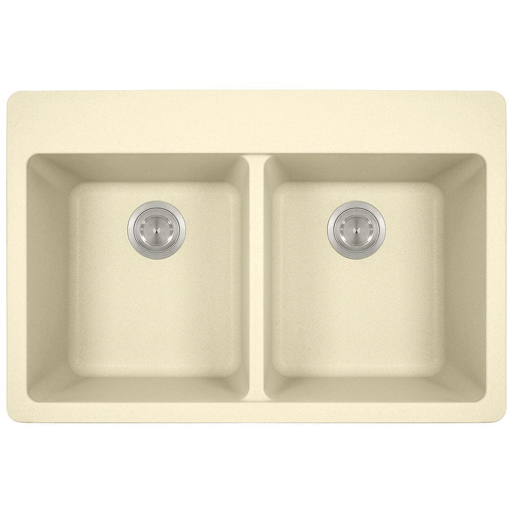 Kitchen Sink Polaris P208TBE Double Equal Bowl Topmount