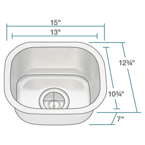 Kitchen Sink Polaris P2151-16 Stainless Steel Bar Brushed