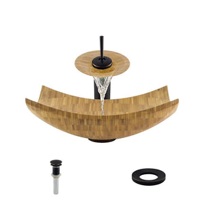 Bathroom Sink Polaris P298-ABR Waterfall Faucet Ensemble