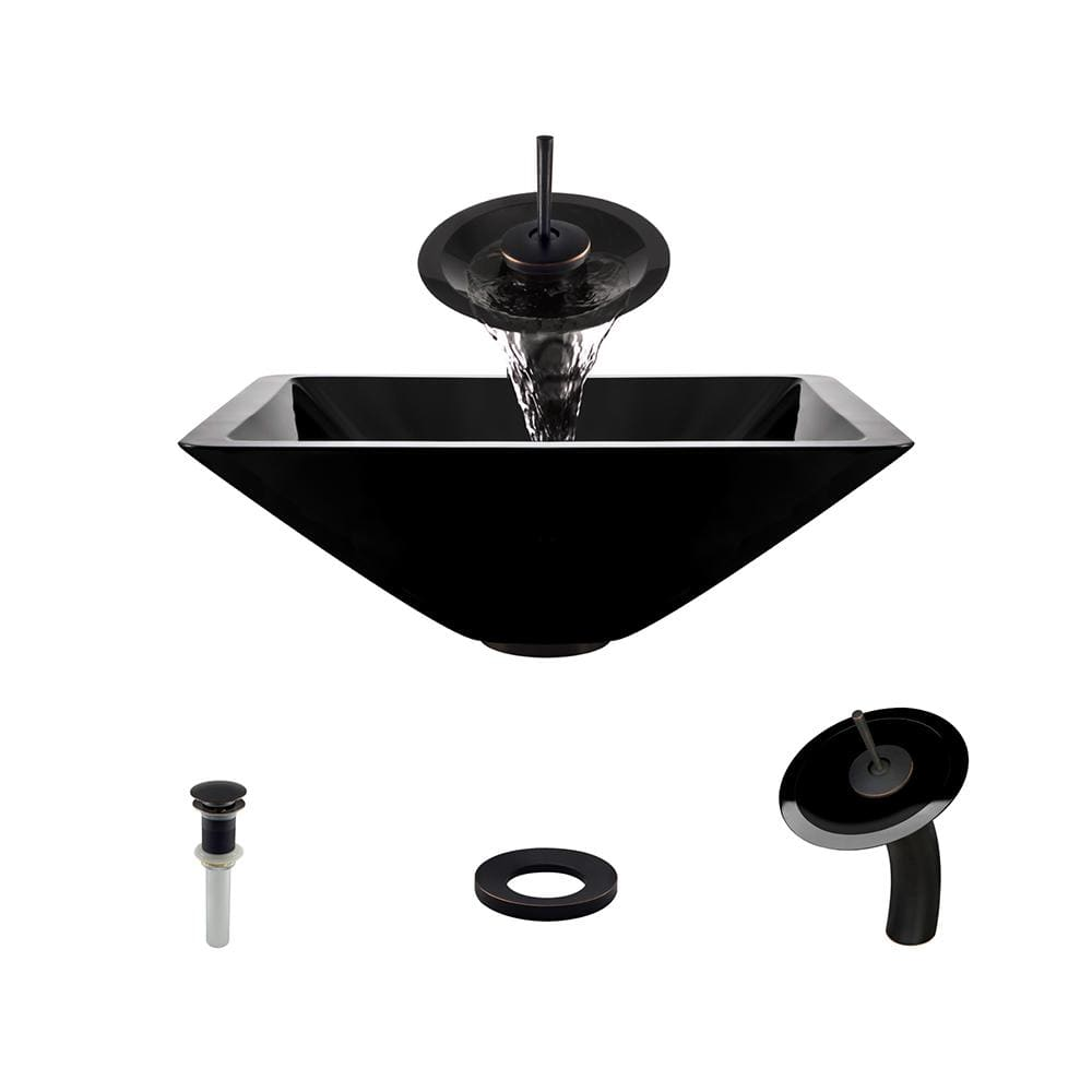 Bathroom Sink Polaris P306-BL-ABR P306 Black-ABR Waterfall