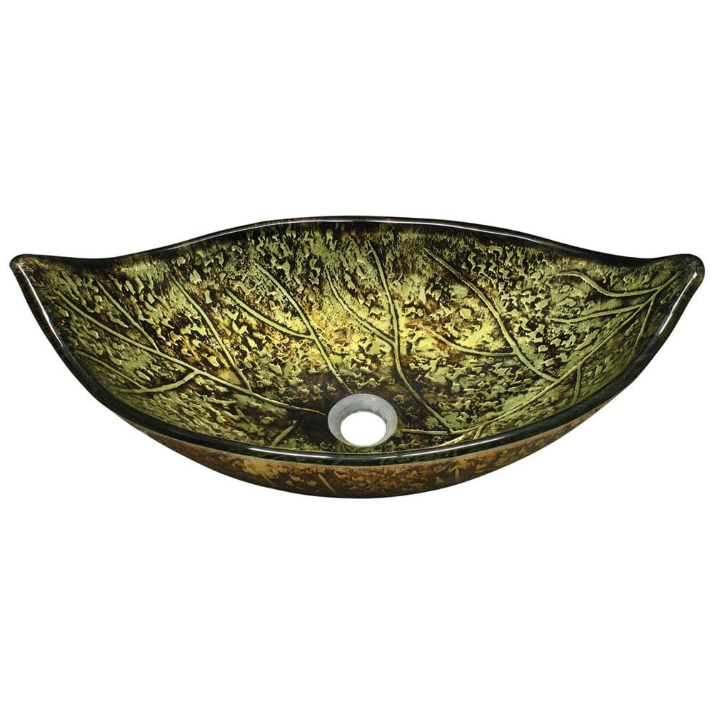 Bathroom Sink Polaris P346 Foil Undertone Leaf Glass Vessel