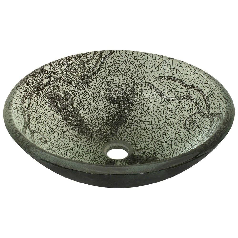 Bathroom Sink Polaris P426 Cracked Vineyard Glass Vessel