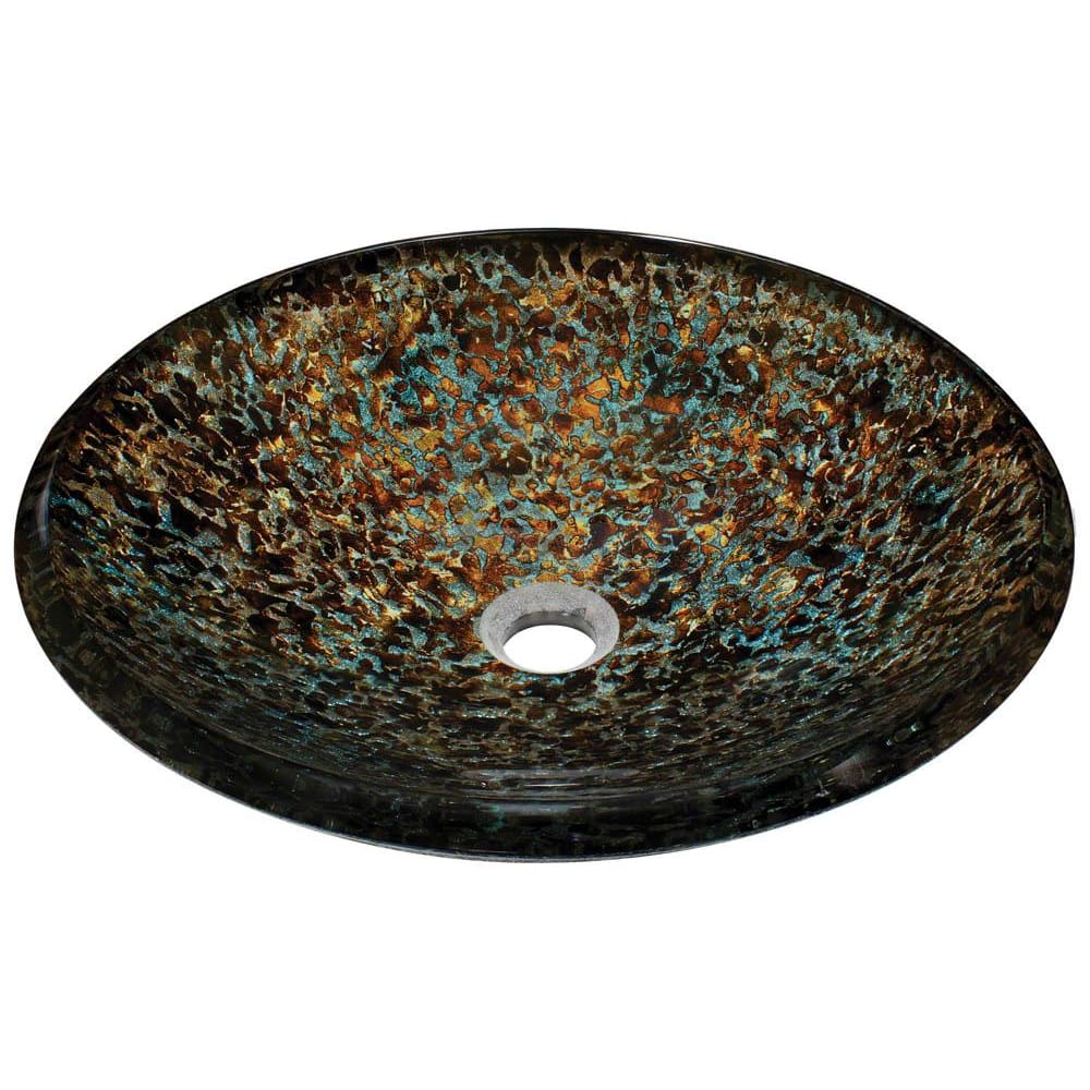Bathroom Sink Polaris P436 Hand-Painted Foil Undertone Glass