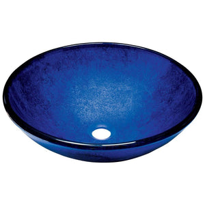Bathroom Sink Polaris P446 Foil Undertone Blue Glass Vessel