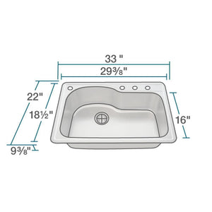 Kitchen Sink Polaris P643T Offset Single Bowl Topmount