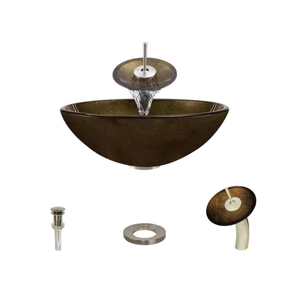 Bathroom Sink Polaris P736-BN Waterfall Faucet Ensemble