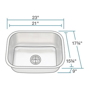 Kitchen Sink Polaris P8132-18 Single Bowl Stainless Steel