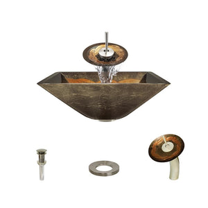 Bathroom Sink Polaris P836-BN Waterfall Faucet Ensemble