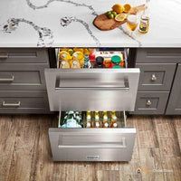 "Thor Kitchen 24"" 5.4 cu. ft. Built-in Indoor/Outdoor Undercounter Double Drawer Refrigerator in Stainless Steel (TRF2401U)"