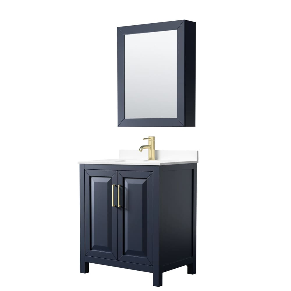 Vanity Set Wyndham WCV252530SBLWCUNSMED Daria 30 Inch Single