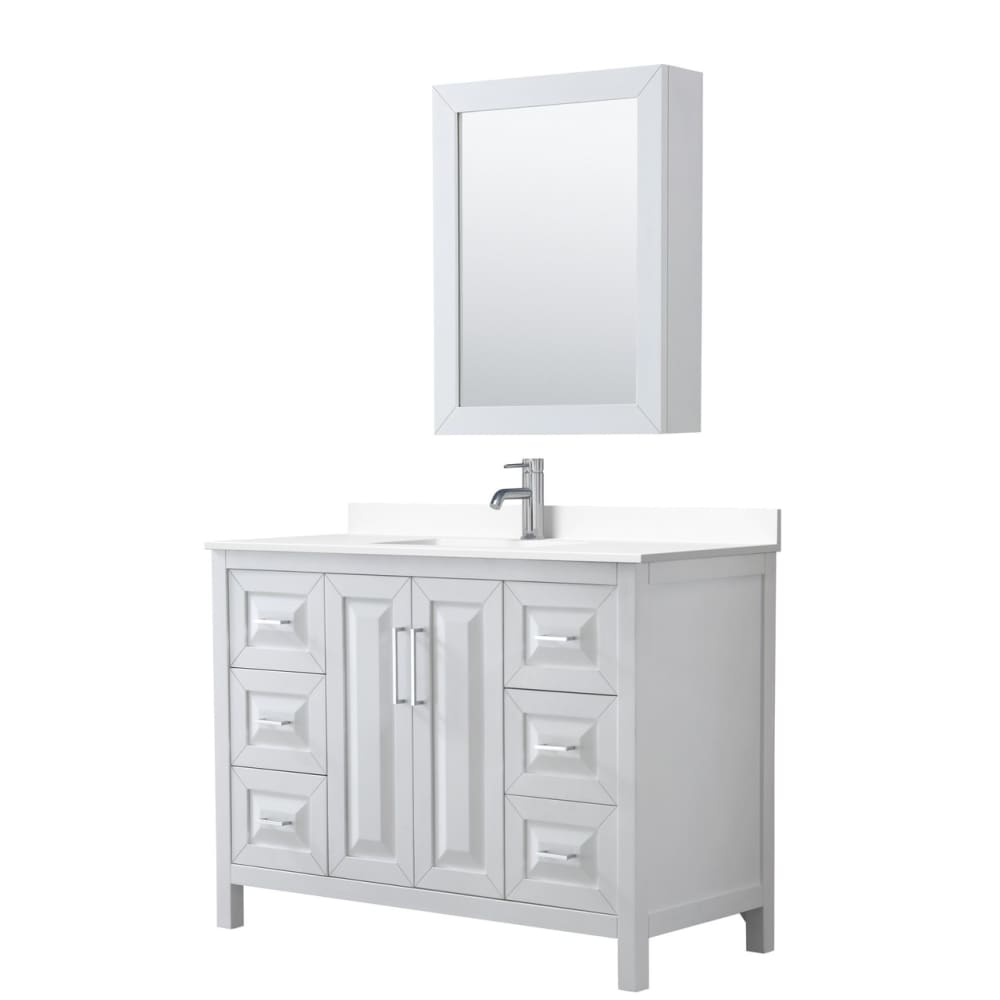 Vanity Set Wyndham WCV252548SWHWCUNSMED Daria 48 Inch Single
