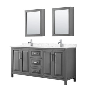 Vanity Set Wyndham WCV252572DKGC1UNSMED Daria 72 Inch Double