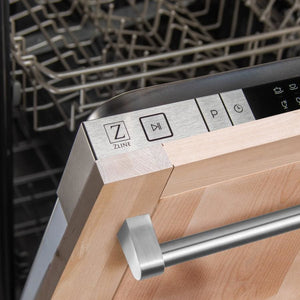Zline 24 in. Top Control Dishwasher in Unfinished Wood with Stainless Steel Tub and Traditional Style Handle DW-UF-H-24