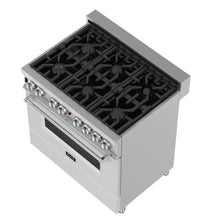 ZLINE 36 in. Professional Dual Fuel Range in DuraSnow® Stainless Steel with White Matte Door (RAS-WM-36)