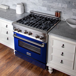 ZLINE 30 in. Professional Gas on Gas Range in Stainless Steel with Blue Gloss Door (RG-BG-30)