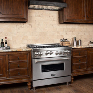 ZLINE 36 in. Professional Gas on Gas Range in Stainless Steel with DuraSnow® Finish Door (RG-SN-36)