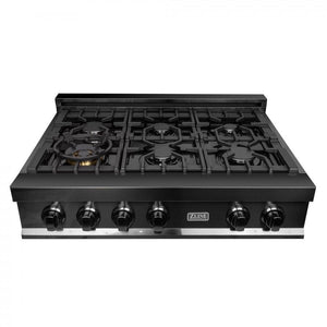Range Zline RTB-36 ZLINE 36 in. Porcelain Rangetop in Black