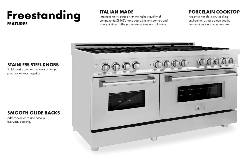 ZLINE 60 7.4 cu. ft. Dual Fuel Range with Gas Stove and
