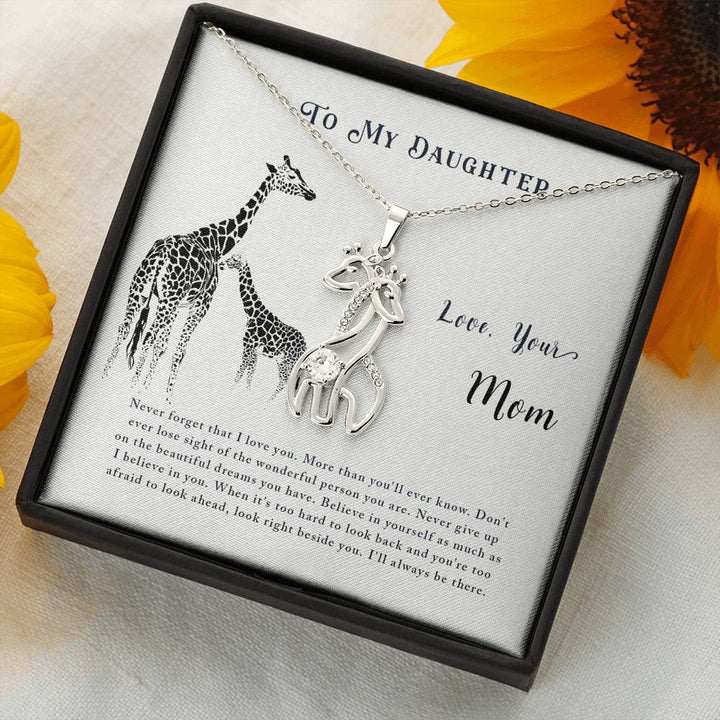 To My Daughter Love Your Mom - Graceful Love Giraffe Necklace