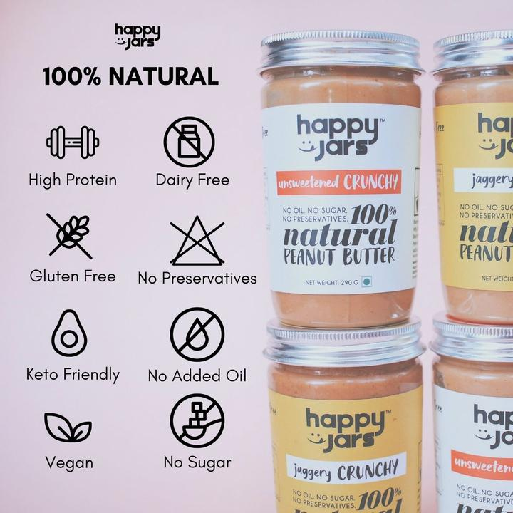 Happy Jars Unsweetened Crunchy Peanut Butter (290g) - 10g protein