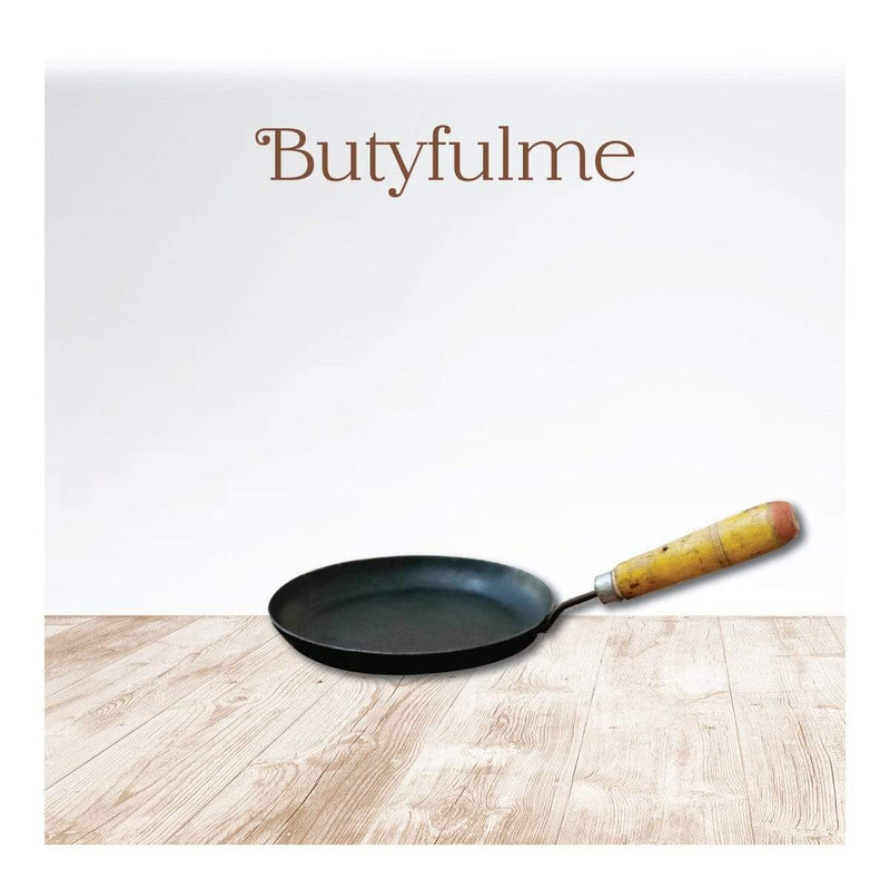 Butyfulme Iron Frying Pan (Kadai) with Wooden Handle - 8 Inches - hfnl!fe