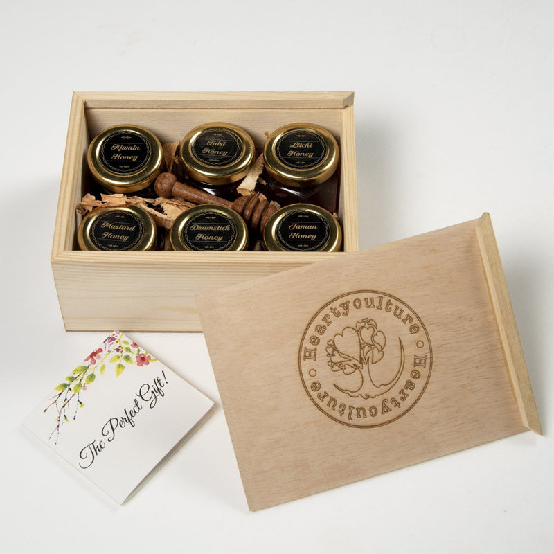 Heartyculture Honey Gift Box Combo (6 Honeys x 25 gm each) - hfnl!fe