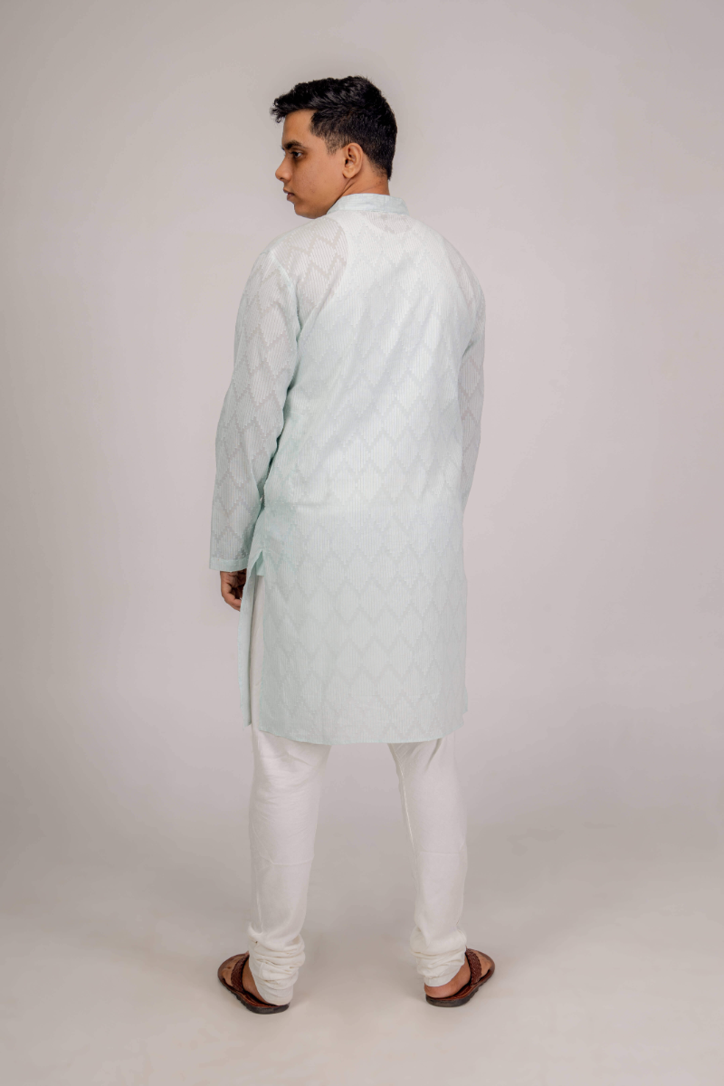 Hfn Men's Full Length Full-Sleeves Kurta (Sea Green Color)