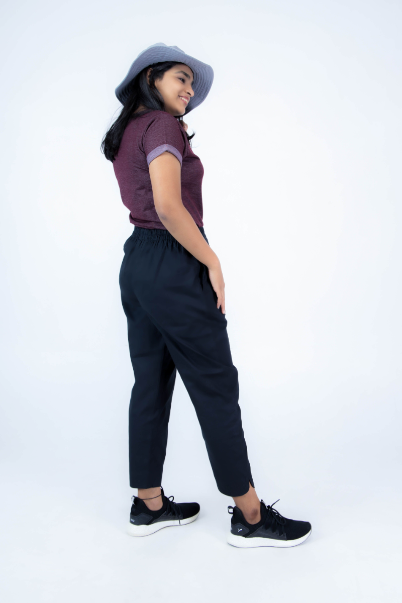 Women's Black Cotton Straight Pant