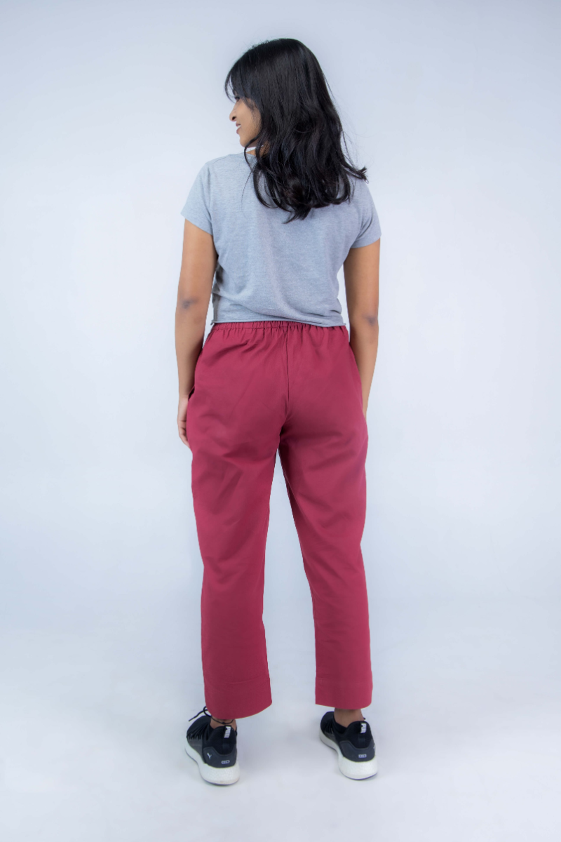Women's Maroon Cotton Straight Pant