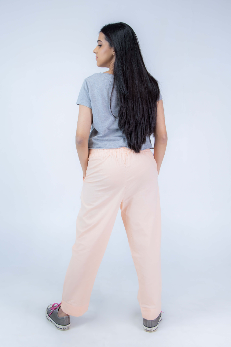 Women's Peach Cotton Straight Pant