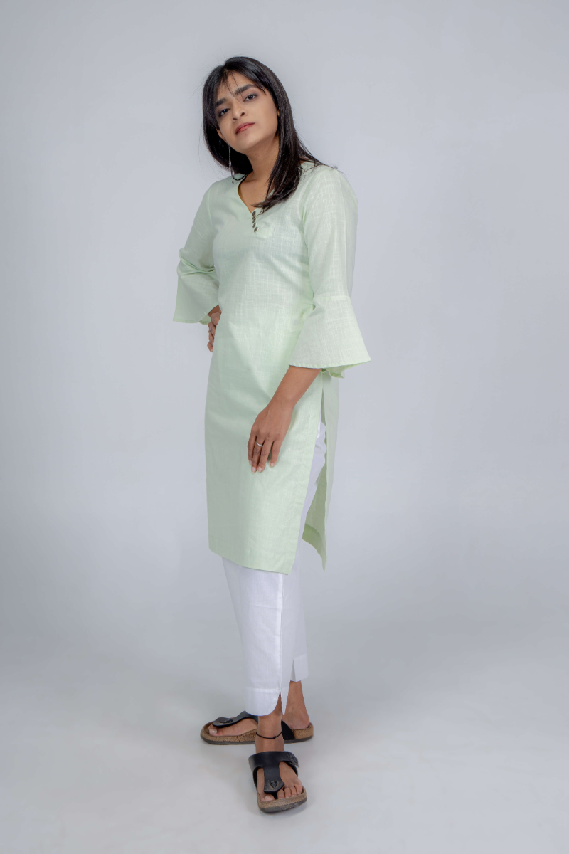 Women's Plain Sea Green Three-fourth Kurti with Frill Sleeves