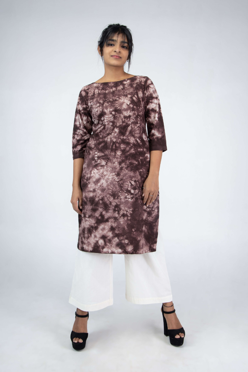 Women's Three-fourth sleeves Kurti Dyed in Brown with Abstract Design