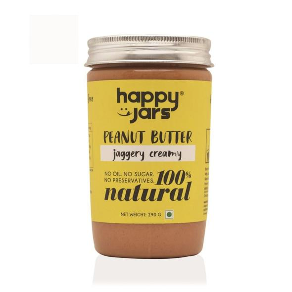 Happy Jars Jaggery Creamy Peanut Butter (290g), 10g protein