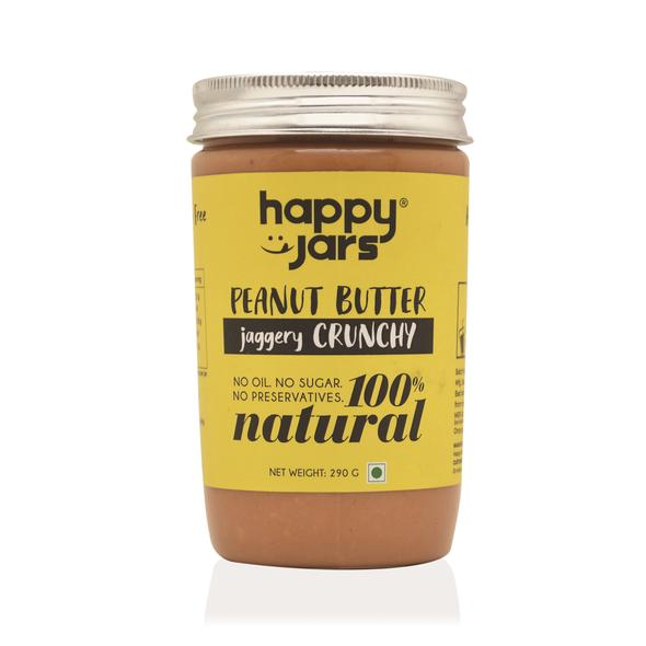 Happy Jars Jaggery Crunchy Peanut Butter (290g) - 10g protein