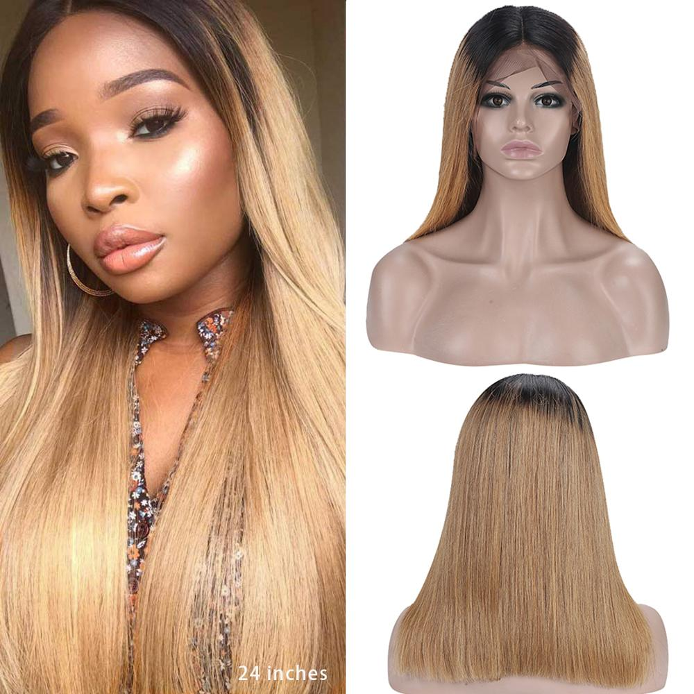 Dejavu Straight Ombre Lace Front Wig Remy Colored 13*4 Lace Front Wig 2 Tone Human Hair Wig Brazilian Straight Wig Human Hair