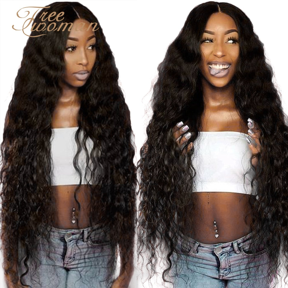 FREE WOMAN 42inch Synthetic Lace front Wigs Long Deep Wave Ombre Wigs For Black Women Hair Black Brown