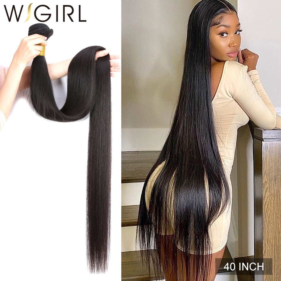 Wigirl Straight 28 30 32 40 Inch Virgin Remy Brazilian Hair Weave Human Hair Bundles Natural Color 100% Human Hair Extension